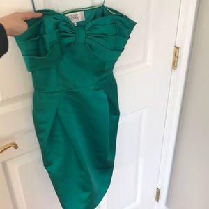 Green strapless dress with pockets Badgley Mischka